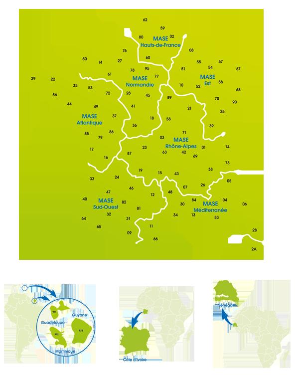 Carte de France des régions MASE